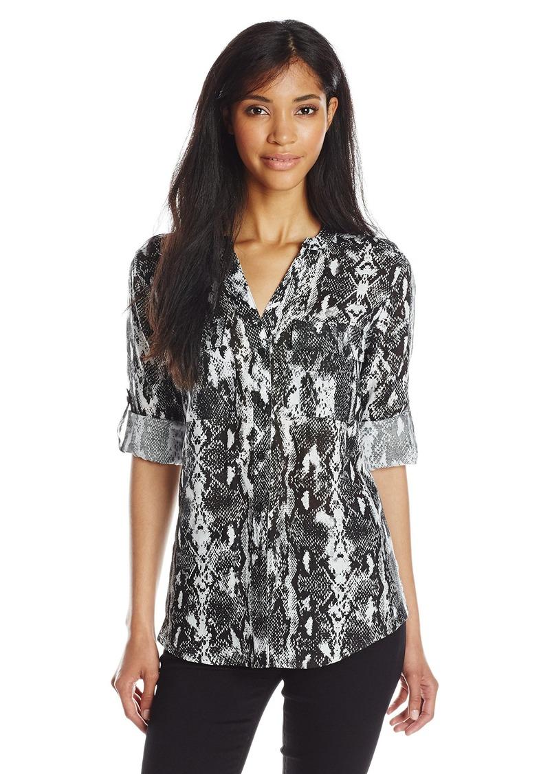 Calvin Klein Women's Essential Printed Linen Roll Sleeve Top