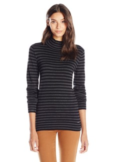 Calvin Klein Women's Essential Striped Mock Neck Sweater  X-Large