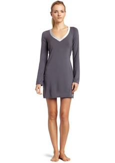 Calvin Klein Womens Essentials With Satin Long Sleeve Nightdress