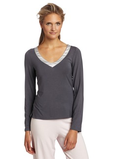 Calvin Klein Womens Essentials With Satin Long Sleeve V-Neck Pajama Top