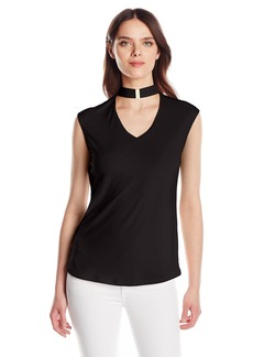 Calvin Klein Women's Extended Shoulder Top with Cutout  XL