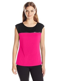 Calvin Klein Women's Extended Shoulder Top with Mesh