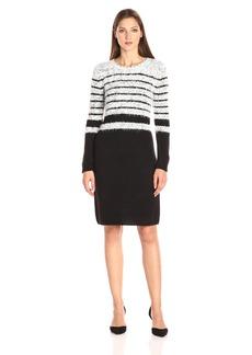 Calvin Klein Women's Eyelash Dress with Ribbed Trim  S