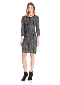 Calvin Klein Women's Eyelash Dress with Faux Leather