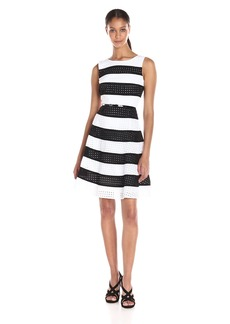 Calvin Klein Women's Eyelet Stripe Fit and Flare Dress with Belt AT Waist