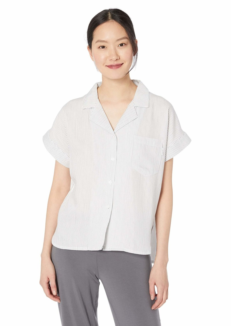 Calvin Klein Women's Fashion Sleep Cotton Tencels Button Down  M