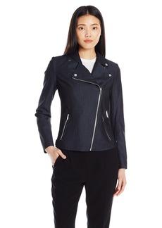 Calvin Klein Women's Faux Denim Moto Jacket