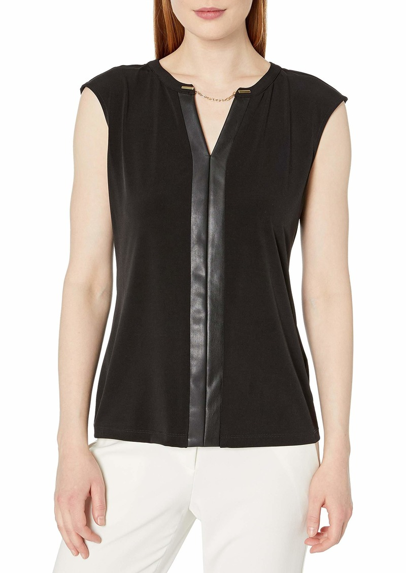 Calvin Klein Women's Faux Leather V-Neck Tank (Regular and Plus Sizes)