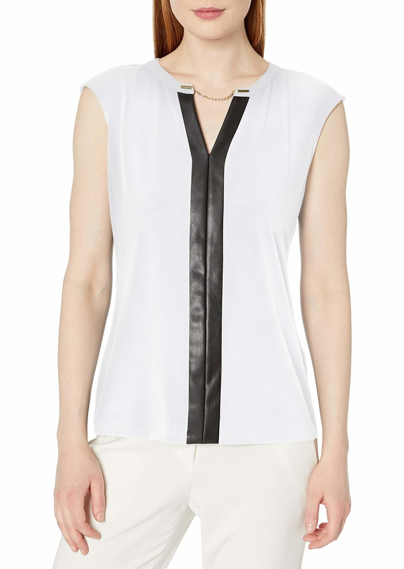Calvin Klein Women's Faux Leather V-Neck Tank (Regular and Plus Sizes)