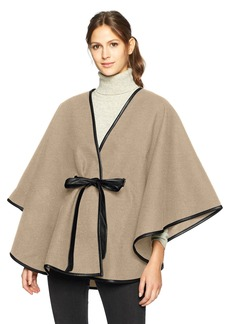 Calvin Klein Women's Faux Wool Cape with Belt Accessory -oat heather