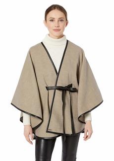 Calvin Klein Women's Faux Wool Shawl w/Belt oat heather O/S