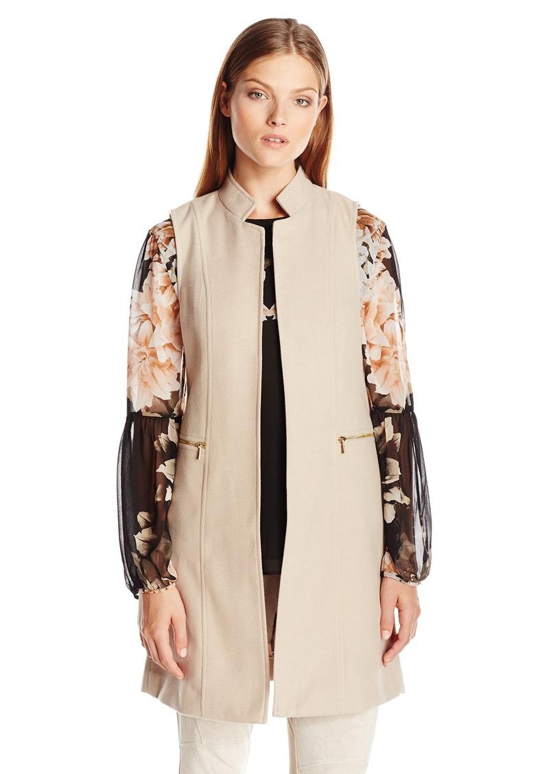 Calvin Klein Women's Faux Wool Vest W/Zips