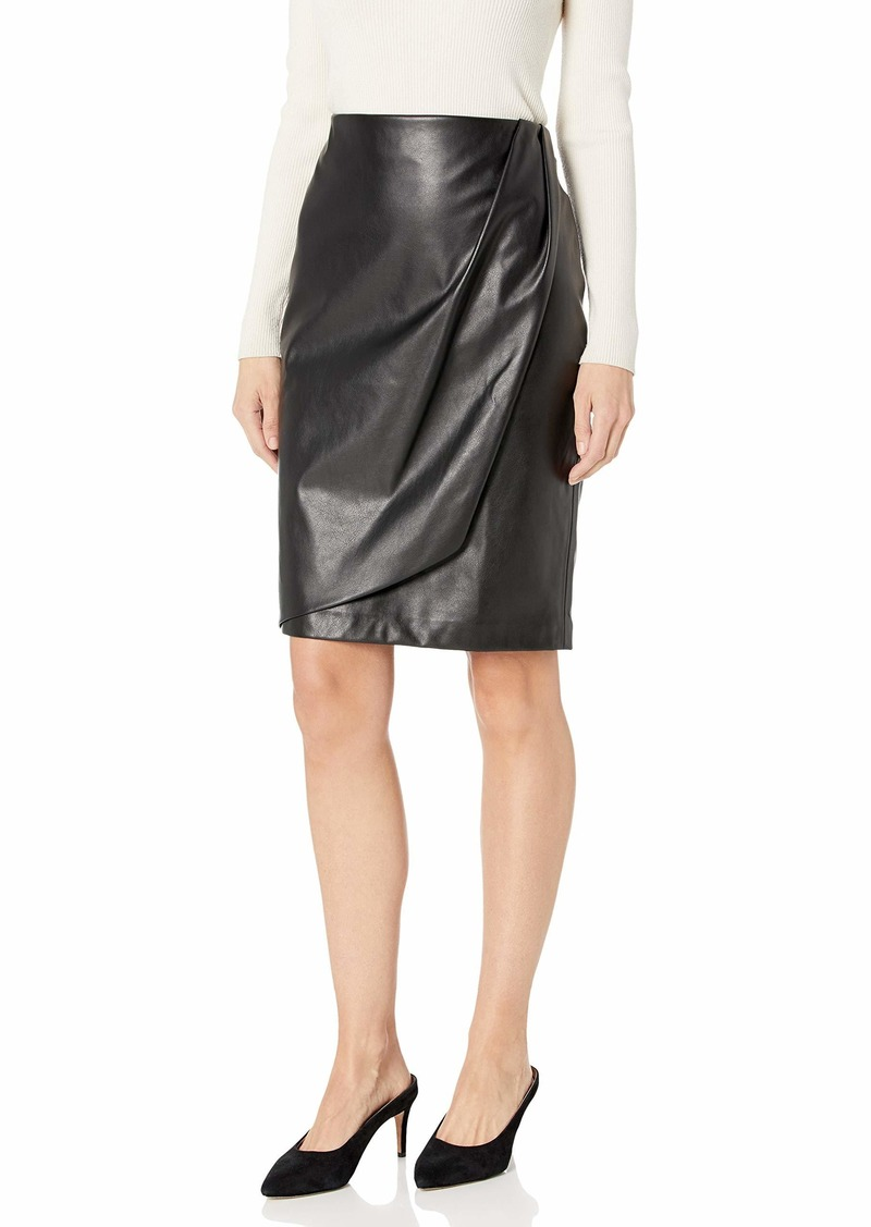 Calvin Klein Women's Faux WRAP Pencil Skirt black