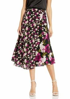 Calvin Klein Women's Faux WRAP Skirt black floral combo