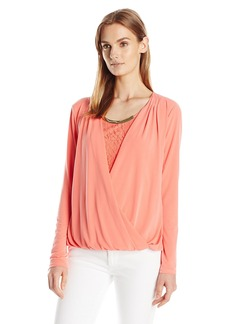 Calvin Klein Women's Faux-Wrap Top with Lace Underlay