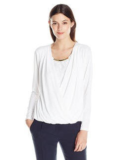 Calvin Klein Women's Faux-Wrap Top with Lace Underlay  X-Large