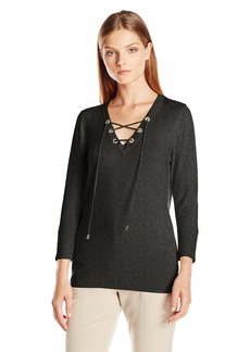 Calvin Klein Women's Fine Guage Lace up Sweater Heather Charcoal M