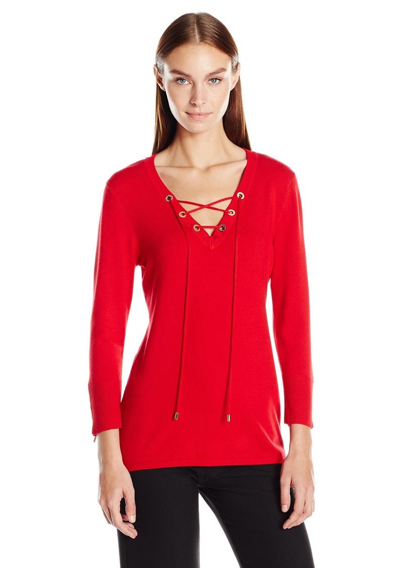 Calvin Klein Women's Fine Guage Lace up Sweater  L