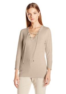 Calvin Klein Women's Fine Guage Lace up Sweater  Medium