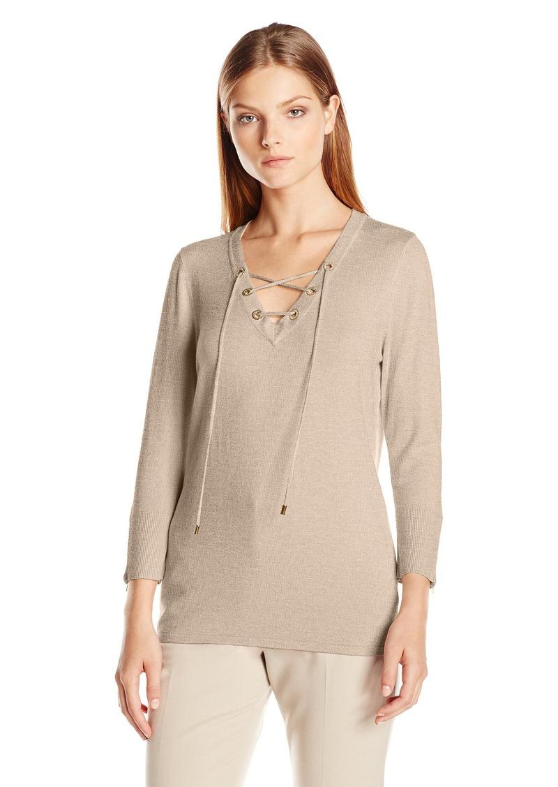 Calvin Klein Women's Fine Guage Lace up Sweater Heather Latte Small