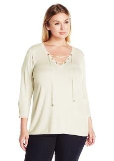 Calvin Klein Women's Fine Guage Lace up Sweater  XL