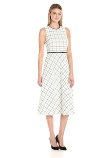 Calvin Klein Women's Fit and Flair Belted Midi Dress