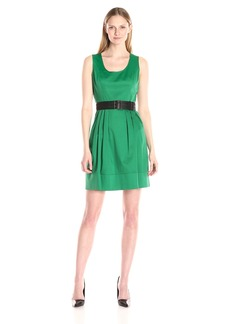 Calvin Klein Women's Fit-and-Flare Belted Dress