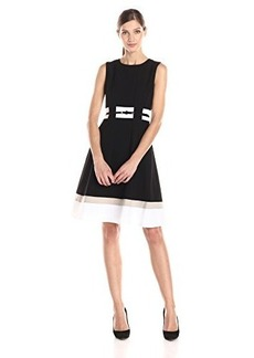 Calvin Klein Women's Fit-And-Flare Color-Block Dress