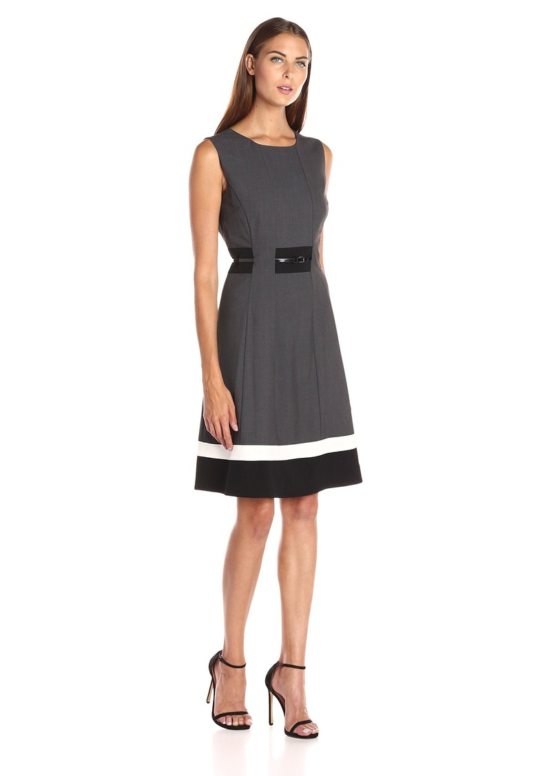 Calvin Klein Women's Fit-And-Flare Color-Block Dress Charcoal/Black