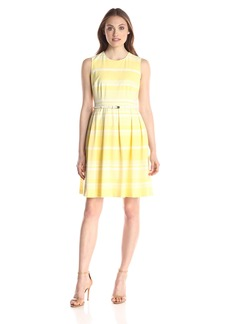 Calvin Klein Women's Fit and Flare Dress with Belt At Waist