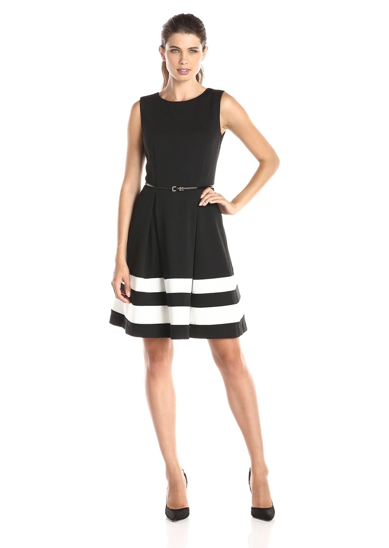c1145059a79c90 Calvin Klein Women's Fit and Flare Dress With Belted Waist Black/Ivory