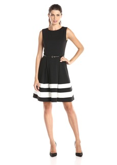 Calvin Klein Women's Fit and Flare Dress with Belted Waist Black/Ivory