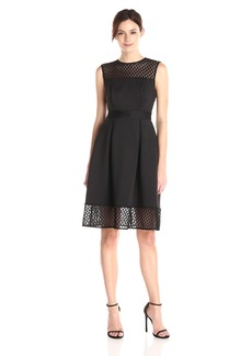 Calvin Klein Women's Fit and Flare Dress with Novelty Inserts