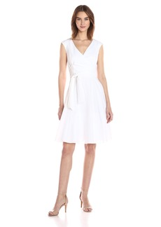 Calvin Klein Women's Fit and Flare Dress with Ruffle Collar and Self Tie