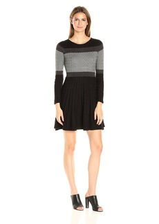Calvin Klein Women's Fit and Flare Long Sleeve Cable Knit Dress  Petite S