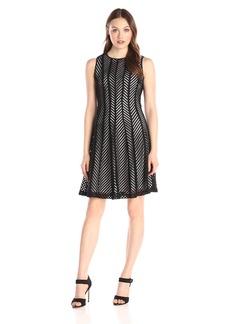 Calvin Klein Women's Fit and Flare Mesh Stripe Dress
