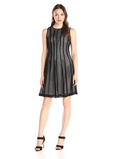 Calvin Klein Women's Fit and Flare Mesh Stripe Dress