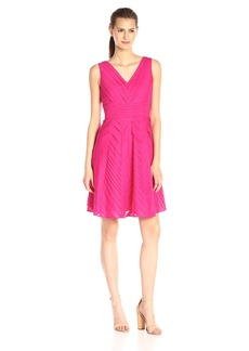 Calvin Klein Women's Fit-And-Flare Pintuck Dress