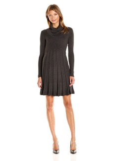 Calvin Klein Women's Fit and Flare Sweater Dress with Elbow Patches  L