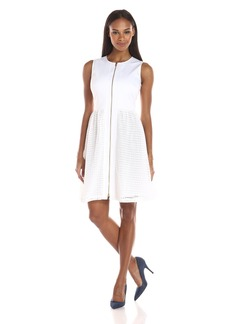 Calvin Klein Women's Fit-And-Flare Zip-Front Dress
