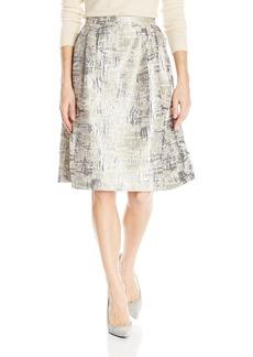Calvin Klein Women's Flare Jaquard Skirt TAN/Gold LAT/GLD CMBO