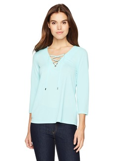 Calvin Klein Women's Flare Sleeve Lace up Top  L