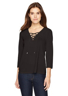 Calvin Klein Women's Flare Sleeve Lace up Top  XS