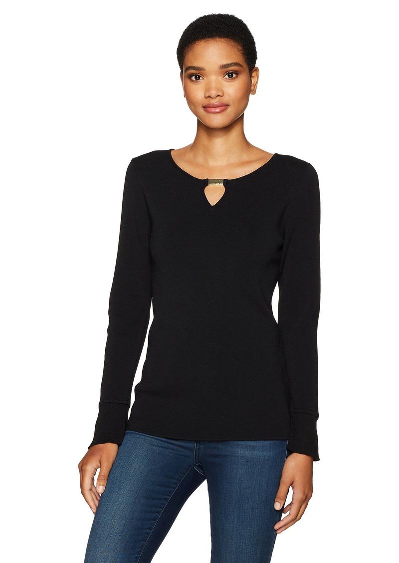 Calvin Klein Women's Flare Sleeve Sweater with Bar Hardware  M
