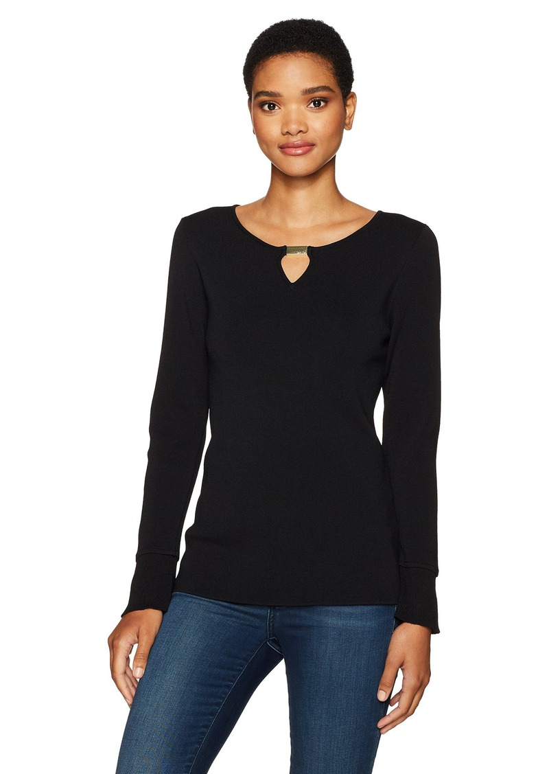 Calvin Klein Women's Flare Sleeve Sweater with Bar Hardware  XL