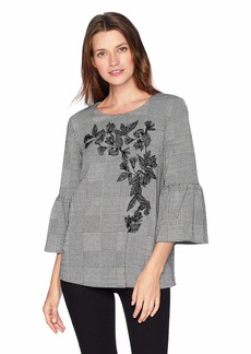 Calvin Klein Women's Flare Sleeve  TOP with Leaf Aplique XS
