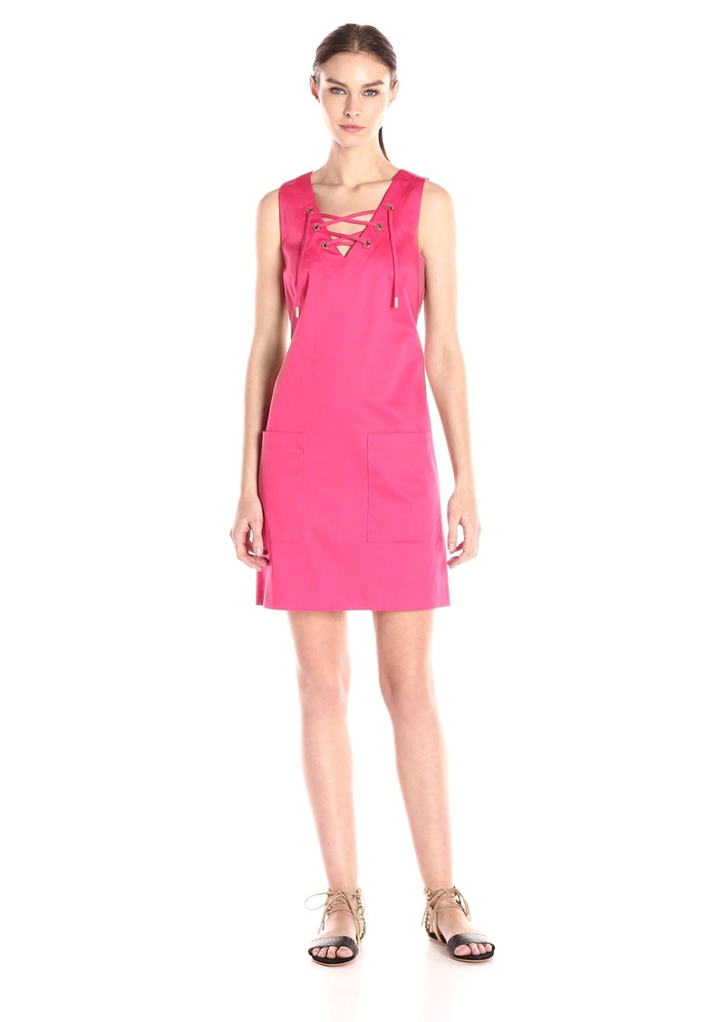 Calvin Klein Women's Flared Dress with Lace-up Detail