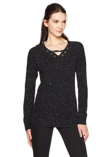 Calvin Klein Women's Flecked Lace up Sweater  M