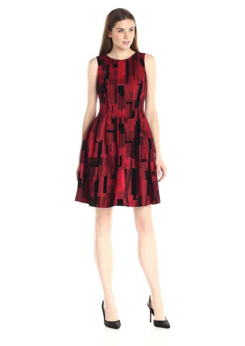 Calvin Klein Women's Flocked Flare Dress Rouge Rge Black