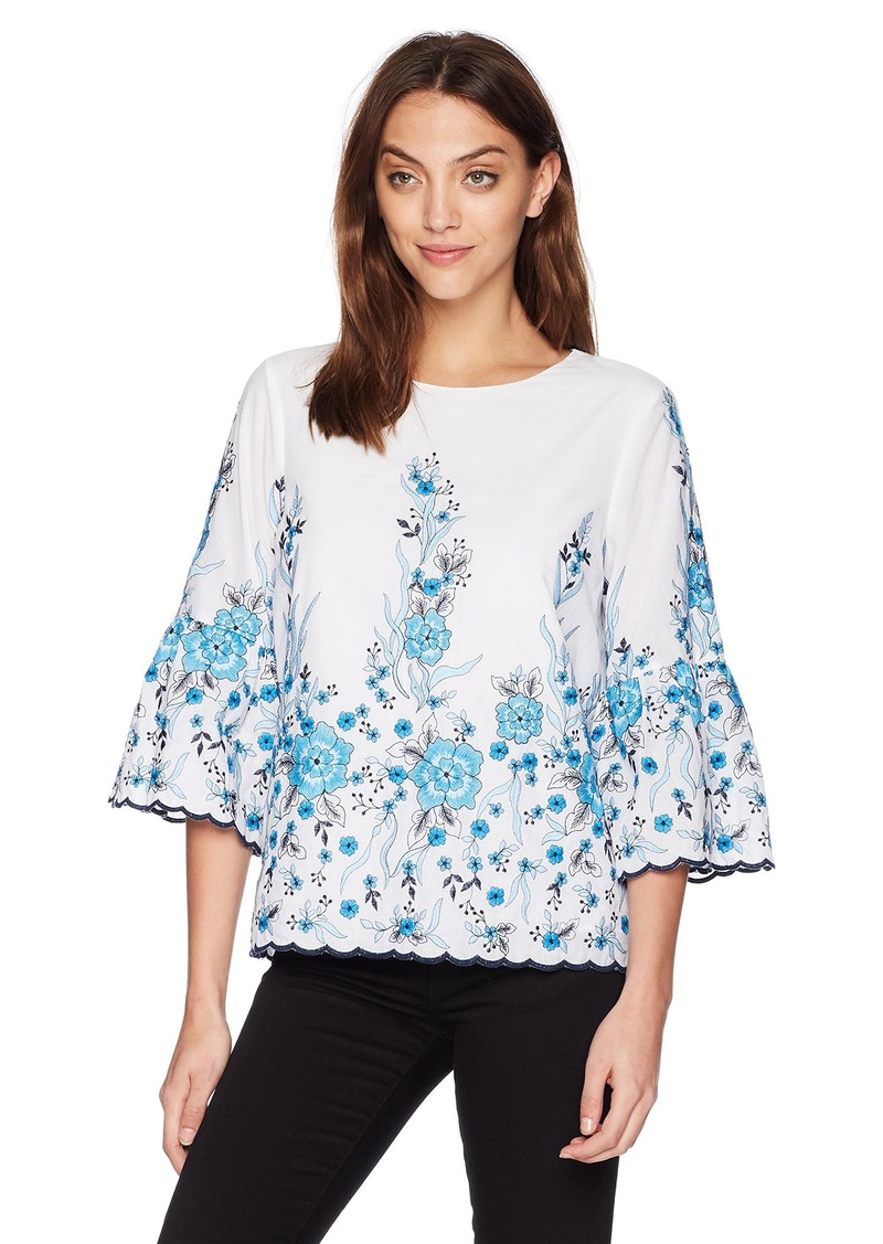 Calvin Klein Women's Floral Embroidered Blouse ICEBURG L
